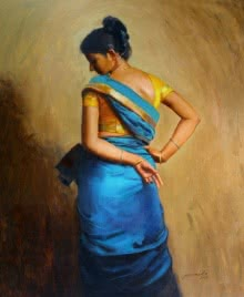 Figurative Oil Art Painting title 'Looking Back' by artist Mahesh Soundatte