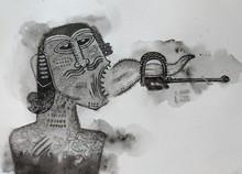 contemporary Watercolor Art Painting title Silenced by artist Sagar Kamble