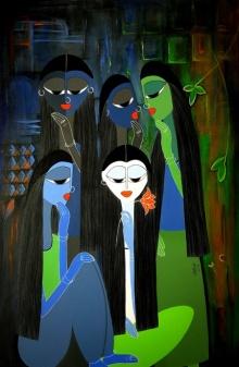 Figurative Acrylic Art Painting title My Hues by artist Rangoli Garg