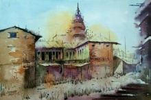 Landscape Watercolor Art Painting title Temple by artist Siddhanath Tingare