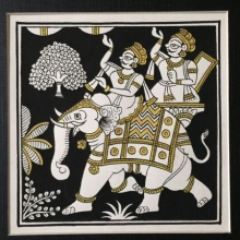 Traditional Indian art title Black And Gold Elephant Procession on Cloth - Phad Paintings