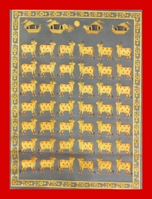 Traditional Indian art title Cows In Gray And Gold 1 on Cloth - Pichwai Paintings