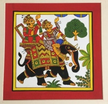 Traditional Indian art title Elephant Procession on Cloth - Phad Paintings