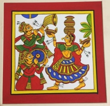 Traditional Indian art title Festive Celebrations 1 on Cloth - Phad Paintings