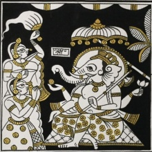 Traditional Indian art title Ganesh Darbar In Black And Gold on Cloth - Phad Paintings