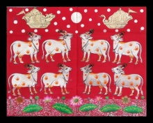 Traditional Indian art title Gopashtami Cows In Silver Leafing Work on Cloth - Pichwai Paintings