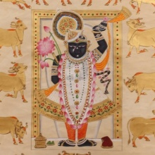 Pichwai Paintings | Traditional art title Gopashtami In White And Gold on Cloth | Artist Unknown