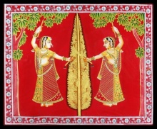 Traditional Indian art title Gopi Vrindavan Pichwai on Cloth - Pichwai Paintings