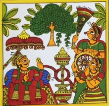 Traditional Indian art title Hookah Love on Cloth - Phad Paintings