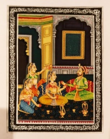 King and queens enjoying feast | Painting by artist Unknown | watercolor | silk