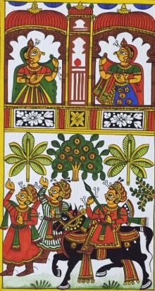 Traditional Indian art title King And Queen 2 on Cloth - Phad Paintings