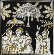 Traditional Indian art title King And Queen In Black And Gold on Cloth - Phad Paintings