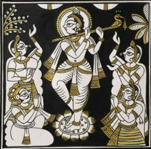 Traditional Indian art title Krishna And Gopis In Black And Gold on Cloth - Phad Paintings