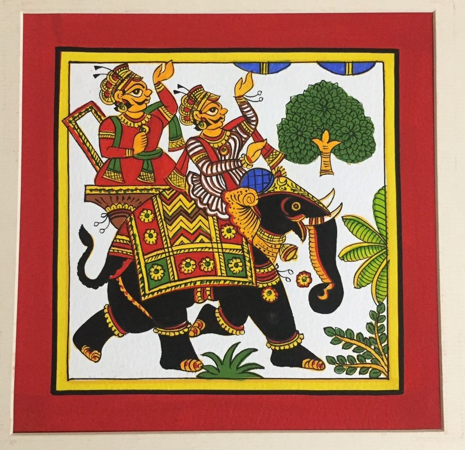 Elephant Procession by Unknown | phad Paintings | Cloth Traditional Art