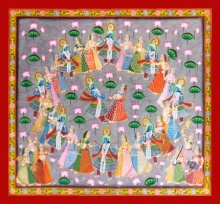 Unknown | Pichwai Traditional art title Raasleela on Cloth | Artist Unknown Gallery | ArtZolo.com