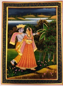 Folk Art Watercolor Art Painting title 'Radha krishna in Vrindavan Miniature' by artist Unknown