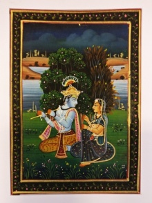 Unknown | Watercolor Painting title Krishna playing flute for Radha on silk | Artist Unknown Gallery | ArtZolo.com