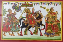 Traditional Indian art title Royal Procession 1 on Cloth - Phad Paintings