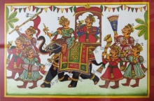 Unknown | Phad Traditional art title Royal Procession 2 on Cloth | Artist Unknown Gallery | ArtZolo.com