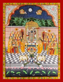 Pichwai Paintings | Traditional art title Sharad Purnima 2 on Cloth | Artist Unknown