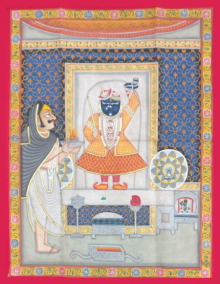 Traditional Indian art title Shrinathji Darshan In Midnight Blue Shri on Cloth - Pichwai Paintings