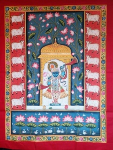 Unknown | Pichwai Traditional art title Shrinathji In Haveli With Lotus In Backg on Cloth | Artist Unknown Gallery | ArtZolo.com