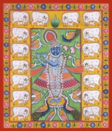 Traditional Indian art title Shrinathji Morkutir on Cloth - Pichwai Paintings
