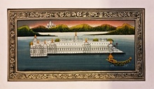 Folk Art Watercolor Art Painting title 'Udaipur lake palace Miniature' by artist Unknown