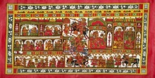 Traditional Indian art title Wedding Procession 1 on Cloth - Phad Paintings