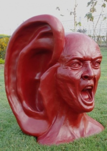 Fiberglass Sculpture titled 'My Voice 1' by artist Vivek Kumar