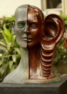 Bronze Sculpture titled 'My Voice 3' by artist Vivek Kumar