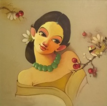 Figurative Acrylic Art Painting title Niragas by artist Renuka Fulsounder