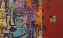 Figurative Acrylic Art Painting title Face by artist Fawad Tamkanat