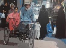 Figurative Acrylic Art Painting title Rickshaw 1 by artist Fawad Tamkanat