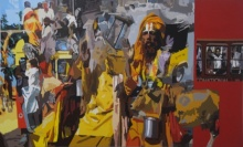 art, painting, acrylic, canvas, religious, sadhu