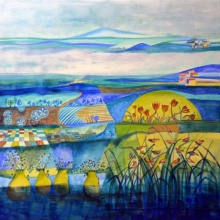 Nature Acrylic Art Painting title Blue Harmony by artist Shilpa Pachpor