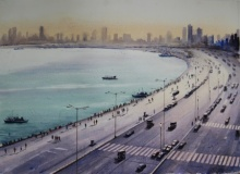 Marine Drive Mumbai | Painting by artist Arup Lodh | watercolor | Fabriano Paper