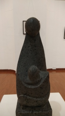 Mother And Child | Sculpture by artist Hariram Phad | Black Basalt Stone