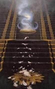 contemporary Oil Art Painting title 'Jab Howe Umar Poori' by artist Abhishek Acharya