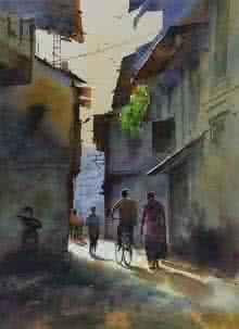 Cityscape Watercolor Art Painting title 'Good Morning' by artist Kishor Nadavdekar