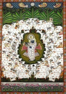 Traditional Indian art title Gopaastami Pichwai Painting Pichwai Pai on Cloth - Pichwai Paintings