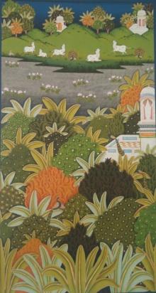 Yugdeepak Soni | Pichwai Traditional art title Flora And Fauna Of Pichwai Painting on Cloth | Artist Yugdeepak Soni Gallery | ArtZolo.com