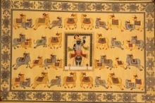 Traditional Indian art title Ganga Jamuna Pichwai Pichwai Painting on Cloth - Pichwai Paintings