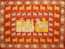 Traditional Indian art title Gold And Silver Adoration Of Krishna Cow on Cloth - Pichwai Paintings