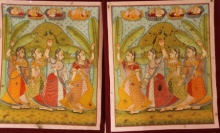 Traditional Indian art title Gopika Pannel Pichwai Painting on Cloth - Pichwai Paintings