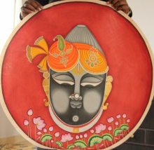 Yugdeepak Soni | Pichwai Traditional art title Shrinath Ji Face Attire Pichwai Painting on Cloth | Artist Yugdeepak Soni Gallery | ArtZolo.com