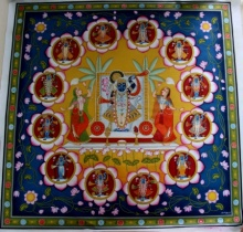 Traditional Indian art title Shrinathji 12 Pichwai Painting on Cloth - Pichwai Paintings