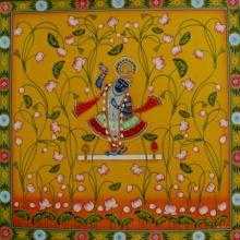 Traditional Indian art title Shrinathji Kamal Pichwai Painting on Cloth - Pichwai Paintings