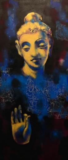 Religious Acrylic Art Painting title 'Gautama Buddha' by artist Devendra Nimbargikar