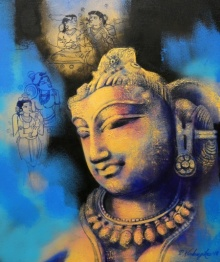 Religious Acrylic Art Painting title 'Sukanya' by artist Devendra Nimbargikar